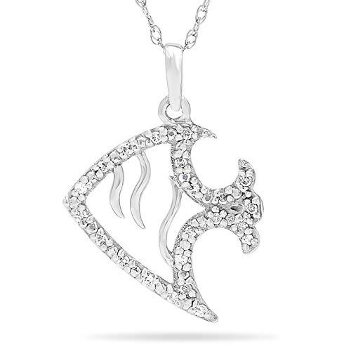 10k White Gold Diamond Nautical Fish Pendant Necklace, Birthstone of April, 18 Inch Gold Chain.