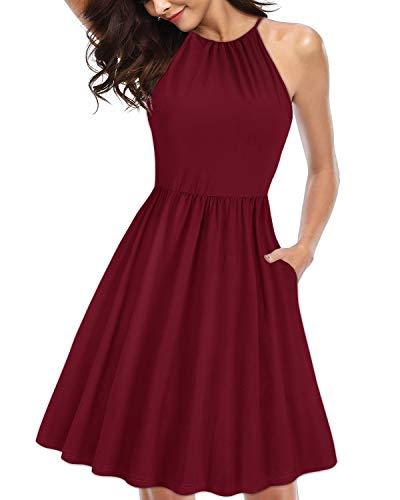 KILIG Women's Halter Neck Floral Sundress Casual Summer Dresses with Pockets (Wine,L)