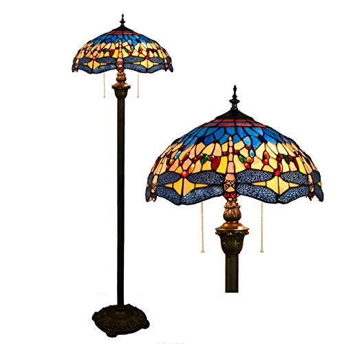 Dragonfly Floor Standing Lamp Tiffany Style Stained Glass Shade Crystal Bead 2 Light eading Floor Lamp for Bedroom Living Room, 63 Inch Tall