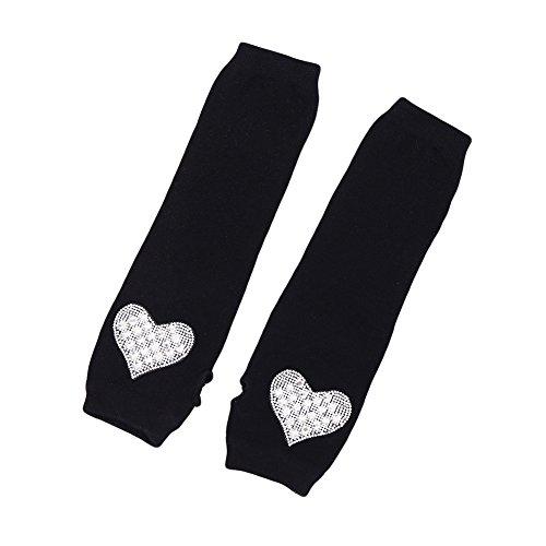 BAOBAO Long Warm Rhinestone Gloves Knit Fingerless Arm Sleeves Winter Gloves