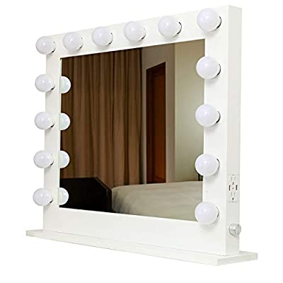 HOMPEN Lighted Makeup Vanity Mirror Light, Lighted Vanity Mirrors with USB and Outlet, L31.5 x W25.6-White