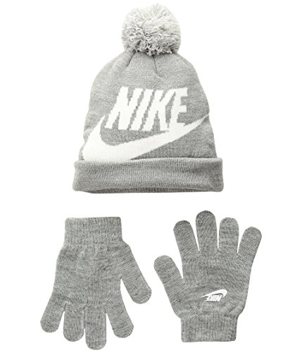 NIKE Boys Big Kids Swoosh Beanie Hat Gloves Set, Dark Gray Heather , 8-20 Big Kids