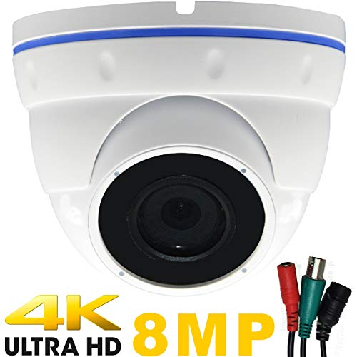 Urban Security Group 8MP Ultra 4K Dome Camera : 3840×2160 Resolution Over BNC Coax Cable, 2.8-12mm Vari-Focal Lens, IR LEDs : Business Grade : HD-TVI + HD-CVI + AHD