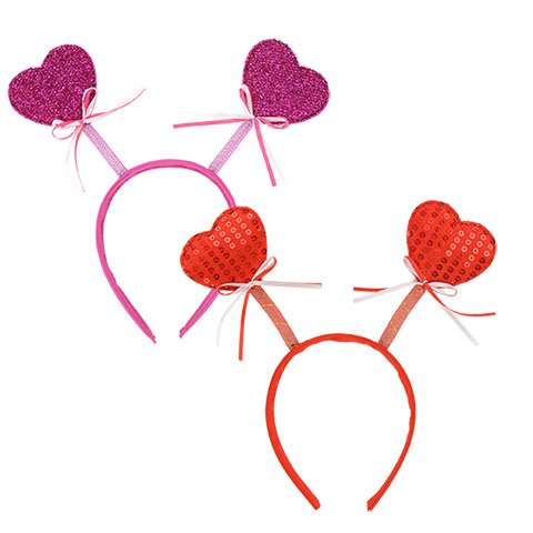 Valentine Heart Bopper Headbands Purple Red with Heart-Shaped Glasses (Set of - Heads Shaped Egg