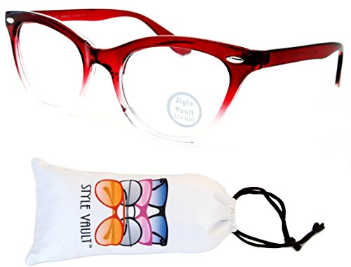 E27-vp Style Vault Clear Lens Cateye Eyeglasses (S3231V Crystal Red/Clear-Clear, - Round Eyeglasses Rock