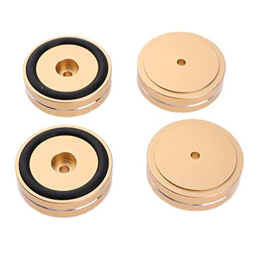 Baosity 4 Pack Aluminum Speaker Spike Shockproof 50x15mm Isolation Feet Stand Cone Pad Turntable Amplifier CD DAC Recorder Gold