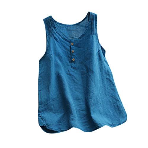 HEJANG Women's Summer Plus Size Loose Linen Casual Short Tops Button Blouse Sleeveless Vintage Solid T-Shirt (L, Blue6)