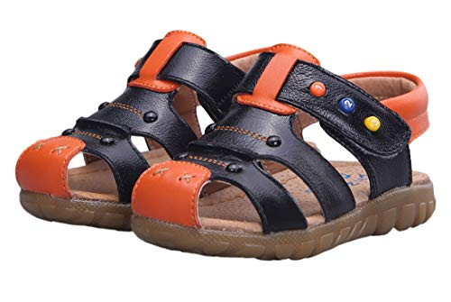 Nubuck Boys Sandals - Happy Cherry Toddler Baby Boys Kids Nubuck Leather Sandal Shoes Size 26 Brown with Orange