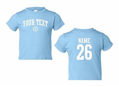 Toddler Custom Personalized T-shirt, Volleyball Arched Text, Back Name & Number
