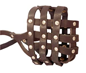 """Real Leather Dog Basket Muzzle #107 Brown - Pit Bull, AmStaff (Circumference 12"""", Snout Length 3.5"""")"""