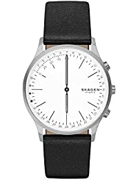 Men's Quartz Stainless Steel and Leather Casual Watch, Color:Black (Model: SKT1201)