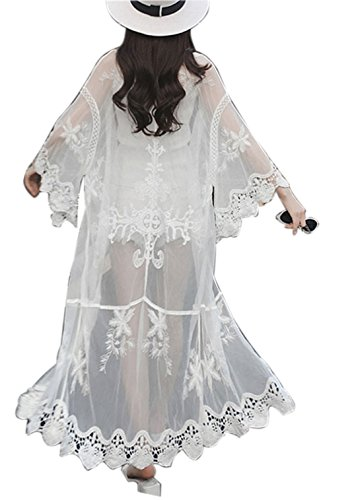- Swimsuit Coverup Lace Kimono Cardigan Casual Beach Coverup for Leggings Or Jeans (One Size, 10-White)