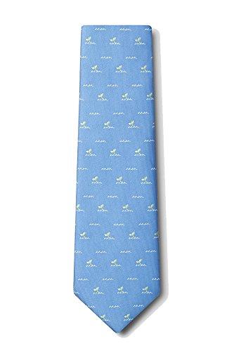 Men's Microfiber Nautical Whales Tails Ocean Whale Tie Necktie (Light Blue) -