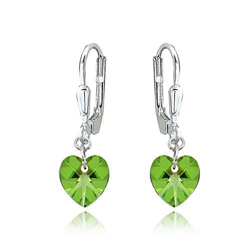 Sterling Silver Light Green Dainty Heart Dangle Leverback Earrings Made with Swarovski Crystals