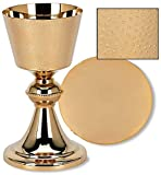 US Gifts Hand Hammered Finish Chalice and Paten Set Brass/24kt Gold Plate 4'' Dia x 7 1/2'' H, 14 oz, 5'' Dia Paten