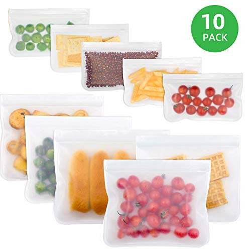 10 Pack Seal Reusable Storage Bags, Food Preservation storage Bags/Food Grade/Versatile Preservation Bag Container for Food snacks, Lunch sandwiches, Fruit, Make-up, Stationery, Travel Storage