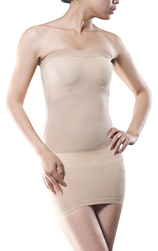 Bottom Tube Dress (Women's Wedding Strapless Full Body Slip Conrol Bottom Shaper Seamless Slimming Tube Shapewear Dress Size M - Beige)