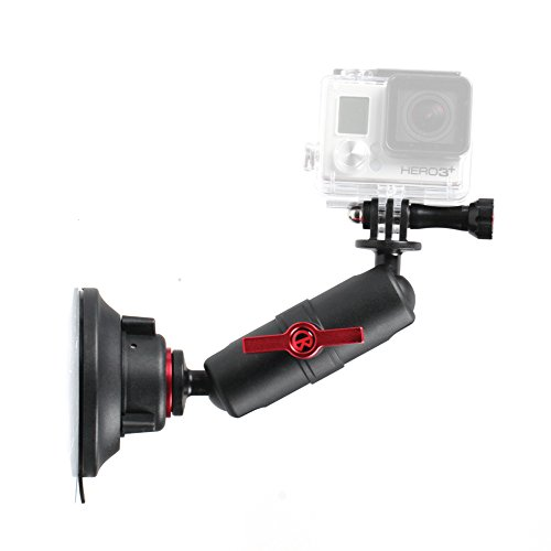 Kamerar Mighty Metal Arm Suction Cup Kit - Aluminium Alloy Extension Arm Mount Adapter for GoPro & Digital Camera with 1/4'' inch Tripod Socket / 180 Degree Ball Joint / Durable Camera Accessory by Kamerar