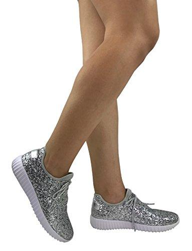 Die athletischen Schuhe der Sammlungs-Jill-Frauen beiläufige Art- und Weisebreathable Maschen-Turnschuhe Silberner Glitter