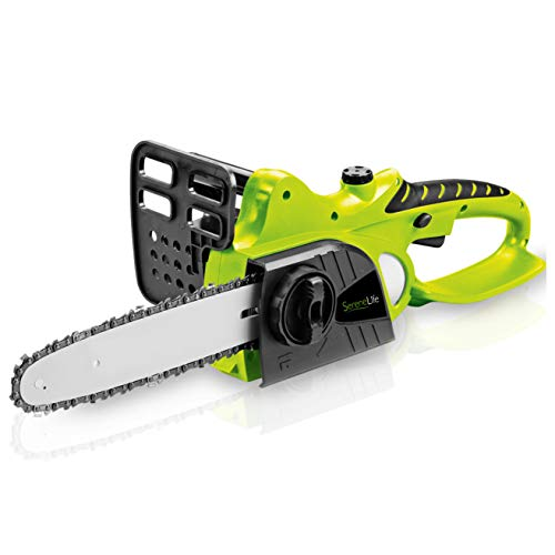 SereneLife AZPSLCHSAW1815 Electric Home Garden Chain-Saw Cutter with Rechargeable Battery, Light Green