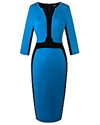 OUGES Women's Stretch Tunic Pencil Sheath Dress