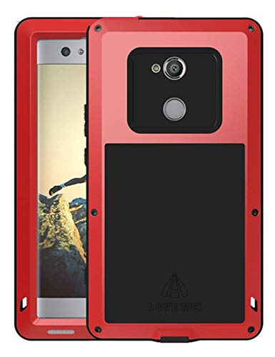 GFU Full Body Sony Xperia XA2 Case, Defender Outdoor Tempered Glass Protector Cover for Sony Xperia XA2 Hybrid Dustproof Heavy Duty Armor Metal TPU Bumper Shockproof (Red, Xperia ()