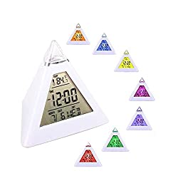 Digital Alarm Clock 7 LED backlight color changing Pyramid shaped triangle alarm clock with Temperature Alarm and Sleeping Function 8 Wake up sounds Christmas Gifts for Kids Home Decor