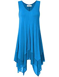 9f7068ce0ba Womens Sleeveless Plus Size Blousees Chiffon Stitched Loose Tunic Cami Tank  Tops. Clearlove