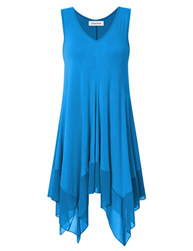 Clearlove Womens Sleeveless Plus Size Blousees Chiffon Stitched Loose Tunic Cami Tank Tops Light Blue 2XL