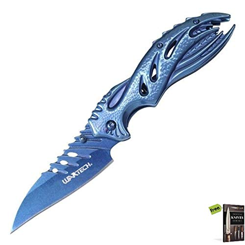 Spring-Assist Folding Knife Wartech Blue Fantasy Alien EDC Wharncliffe Carbon Sharp Blade Knife + Free eBook by SURVIVAL ()
