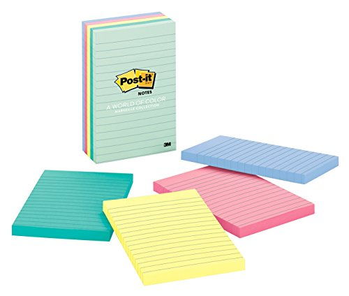 Post-it(R) Notes, 4 in x 6 in, Marseille Collection, Lined, 5 Pads/Pack, 100 Sheets/Pad (660-5PK-AST) 100 Sheet Pads