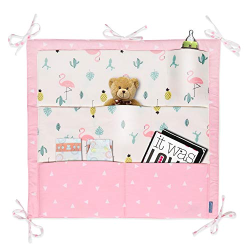 LIVEBOX Crib Organizer, Pink Flamingo Baby Nursery Cot Bed Organizer with 9 Pocket Hanging Diapers Essentials Clothes Toys Multi-Function Storage Bag 2019 Best Shower Gift (Best Cot Bed 2019)