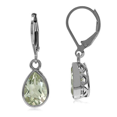 3.1ct. Green Amethyst 925 Sterling Silver Heart Victorian Style Drop Dangle Leverback Earrings (Victorian Style Amethyst Earrings)