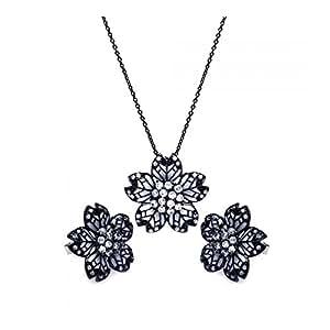 Plata de Ley negro rodio chapado en flor esmalte blanco Cubic Zirconia Stud Pendientes & colgante Set