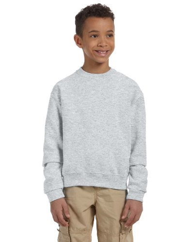 JERZEES Boys NuBlend Crewneck Sweatshirt, Small, Ash