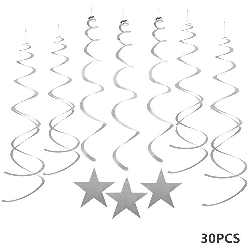 MOWO Silver Star Hanging Swirl Decorations for Ceiling, Silver Streamers, Pack of 30 (Birthday Hanging Party Decorations)