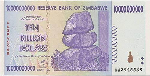 (Zimbabwe 10 Billion Dollars 2008, World inflation record, currency banknotes P85 by)