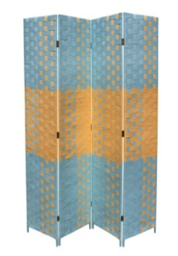Beach Divider Room - ORE International FW0676UC 4-Panel Screen Room Divider on 2-Inch Leg, Beach Blue/Natural Paper Straw Weave