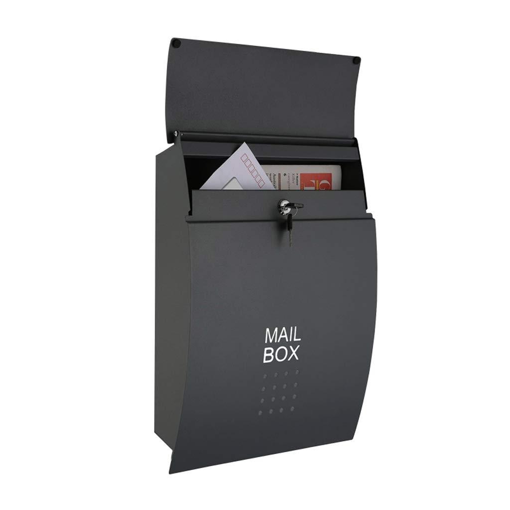 ZXPzZ 大型ブラック郵便箱、壁掛けレターボックス、屋外屋外ロック可能ポストボックス、A4メールボックス - 455 * 320 * 50mm -メール収集   B07NZ977Z1