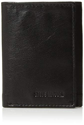 Steve Madden Men's RFID Trifold Wallet with ID Window, Black, One Size