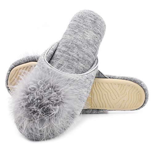 Zigzagger Women Fluffy Velvet Memory Foam Indoor Flat Slippers w/Faux Fur Cute Pompom, Grey, 9-10 M US