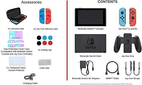 "Newest Nintendo Switch with Neon Blue and Neon Red Joy-Con - 6.2"" Touchscreen LCD Display, 32GB Internal Storage, 802.11AC WiFi, Bluetooth 4.1, HDMI - Blue and Red - iPuzzle 11-in-1 Carrying Case"