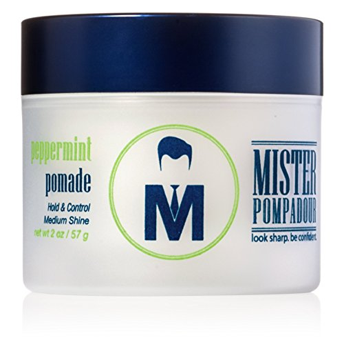 Mister Pompadour Peppermint Pomade - Best Hair Styling Product for Men (and Women) - 2oz - Medium Hold & High Shine - Water Based - All Natural Ingredients - Best Pomade - Perfect for Pompadours, Side Parts & Combed Hairstyles