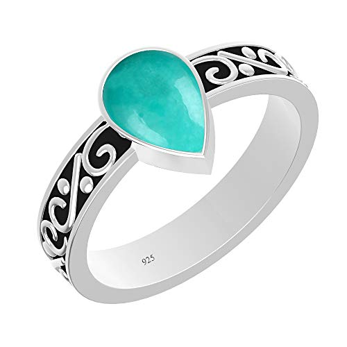(Turquoise Ring Sterling Silver Handmade Vintage Boho Navajo Design Size 7 Ring for women men girls)