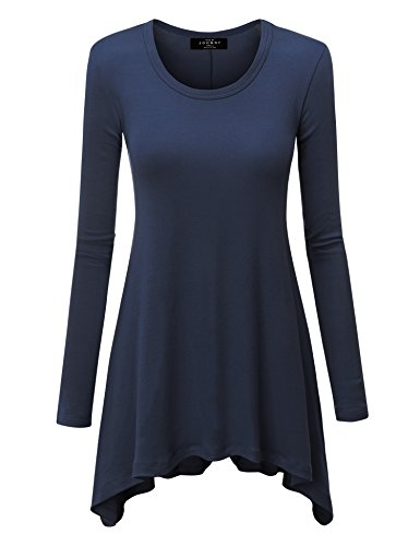 Made By Johnny WT953 Womens Round Neck Long Sleeve Rib Trapeze Tunic Top XL Navy