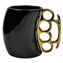 Caliber Gourmet Brass Knuckles Handle Coffee Mug Black and Gold Perfect for Hot Chocolate cocoa + Tea + Soda Drink