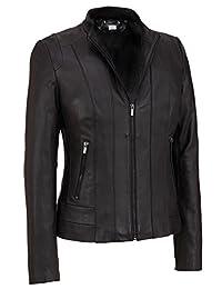 VearFit Women's Lamboge PU Faux Black Biker Motorcycle Leather Jacket Missy Regular & Plus Size