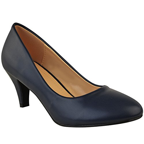 Moda Thirsty Mujeres Mid Heel Court Zapatos Work Office Tamaño Formal De La Boda Navy Blue Faux Leather