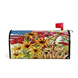 WOOR American Flag and Sunflowers Flowers Magnetic Mailbox Cover MailWraps Garden Yard Home Decor for Outside Oversized-25.5' x20.8'