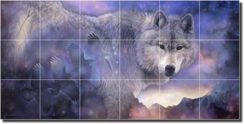 The Path to Healing by Leslie Macon - Artwork On Tile Wolf Ceramic Mural 18'' x 36'' Kitchen Shower Backsplash